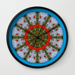 Red Poppies, Floral mandala-style Wall Clock