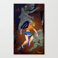 foo fighters Canvas Prints featuring Fighters by Al Barazi