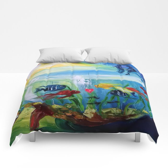 Catching fish in the tank Comforters