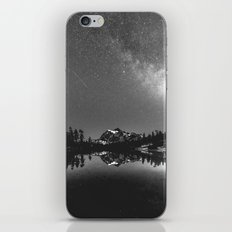 Summer Stars Black and White - Galaxy Mountain Reflection iPhone & iPod Skin