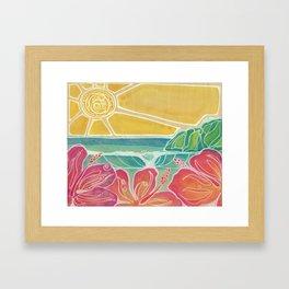 Triple Hibiscus Surf Art by Lauren Tannehill Art Framed Art Print