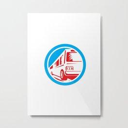 Tourist Coach Shuttle Bus Circle Retro Metal Print