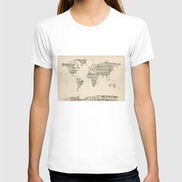 Old Sheet Music World Map T-shirt