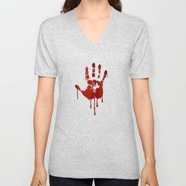 Bloody halloween hand Unisex V-Neck
