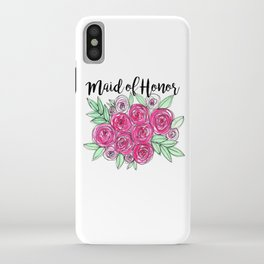 Maid of Honor Wedding Pink Roses Watercolor iPhone Case