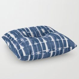 Shibori Stripes 3 Indigo Blue Floor Pillow