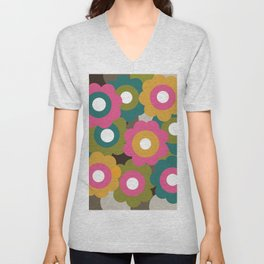 Retro Vintage Flowers - Yellow Pink Turquoise Unisex V-Neck