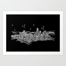Los Angeles, California City Skyline Art Print