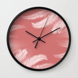Palm leaves on cinnamon rose Wall Clock