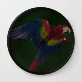 Light and Shadow Scarlet Macaw Wall Clock