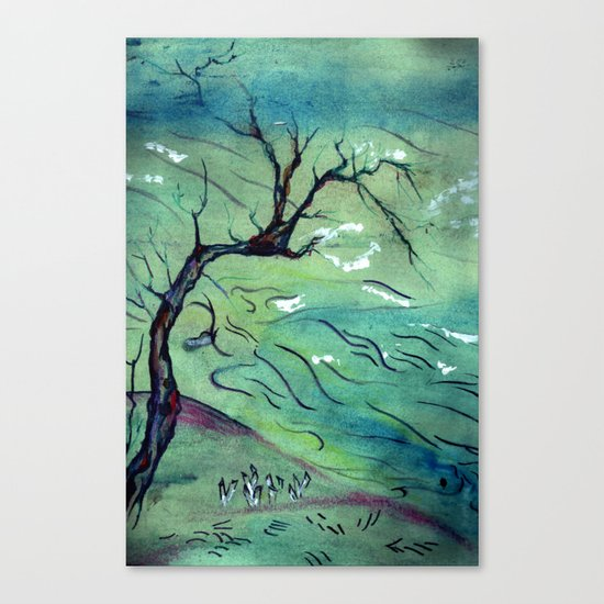 Blossom Tree & the river Canvas Print