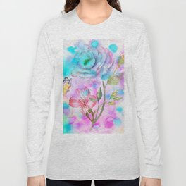 floral alcohol ink painting Long Sleeve T-shirt