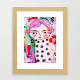 Dream a bit...every day! pink hair girl fish flowers Framed Art Print