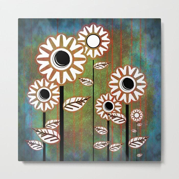 Retro flowers in brown and blue Metal Print