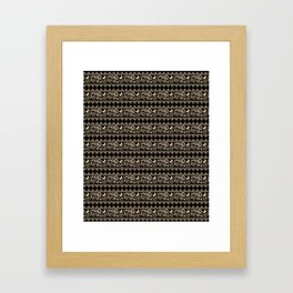 The lace pattern. Beige pattern on black background. Framed Art Print