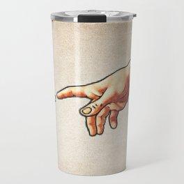 Funny 8bit Nerd & Geek Humor (Creation of Adam Parody) Travel Mug