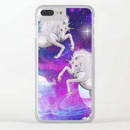space unicorns v Clear iPhone Case