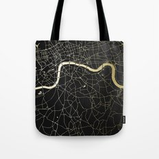 London Black on Gold Street Map Tote Bag