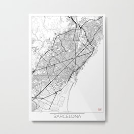 Barcelona Map White Metal Print