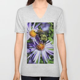 Pollen Dusted Bee on Asters Unisex V-Neck
