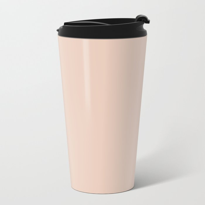 Solid Vintage Rose Pink Metal Travel Mug