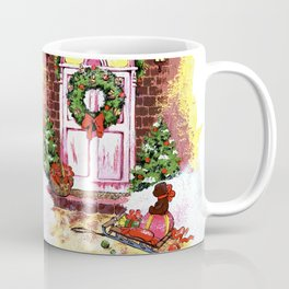 Near the front door are a sledge with gifts. Christmas night Coffee Mug