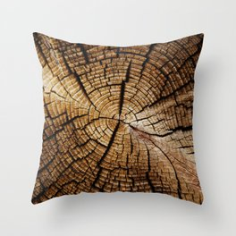 Ol' and weathered log Throw Pillow