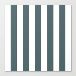 Stormcloud grey - solid color - white vertical lines pattern Canvas Print