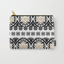 Black white faux gold glitter hand painted floral aztec Carry-All Pouch