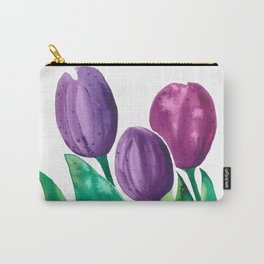 Watercolor violet tulips Carry-All Pouch