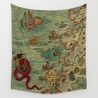 antique Wall Tapestries featuring Antique Map by Lucia