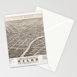 Pictorial Antique Map Niles ohio Stationery Cards