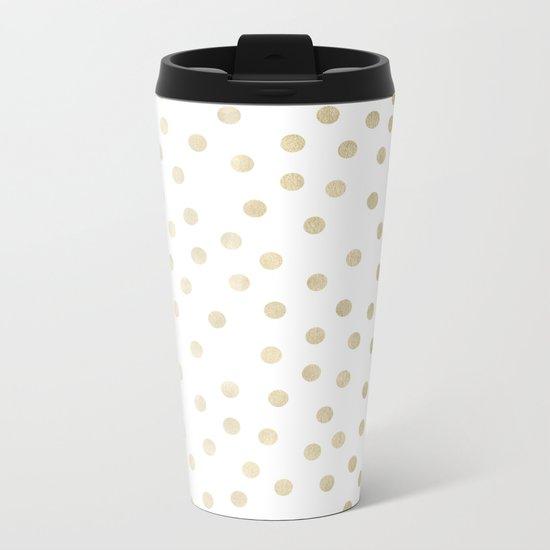 Stylish Gold Polka Dots Metal Travel Mug
