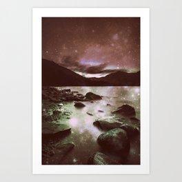 Magical Mountain Lake Burgundy Puce Art Print