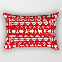 Pomeranian Dog Silhouettes Christmas Sweater Pattern Rectangular Pillow