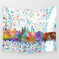 philadelphia Wall Tapestries featuring philadelphia city skyline watercolor by Bekim ART
