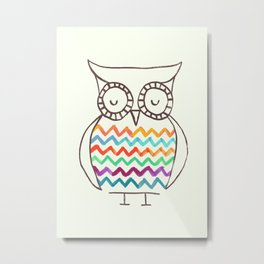 Chevron Owl Metal Print