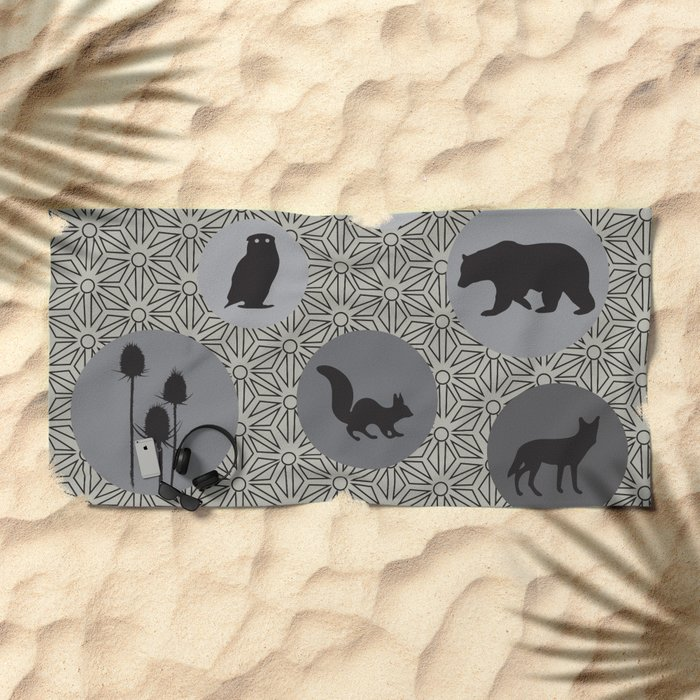 Animals Of The Woods Beach Towel