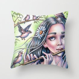 Birdsong Fairy Throw Pillow