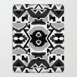 Geometric Aztec - black and white Poster