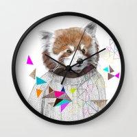 kris tate Wall Clocks featuring RED PANDA by Jamie Mitchell and Kris Tate by Kris Tate