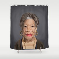 celebrity Shower Curtains featuring Celebrity Sunday ~ Maya Angelou by rob art | illustration