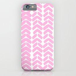Hand-Drawn Herringbone (Pink & White Pattern) iPhone Case