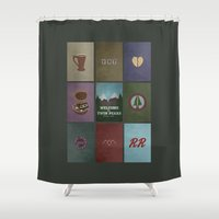 twin peaks Shower Curtains featuring Twin Peaks colors by avoid peril