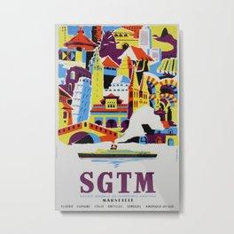 Sgtm Marseille Vintage Travel Poster Metal Print