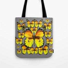 CLUSTER YELLOW-BROWN  BUTTERFLIES GREY  DESIGN Tote Bag