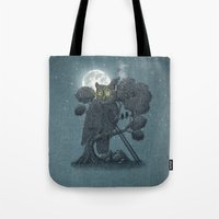 yetiland Tote Bags featuring Nightwatch by Terry Fan