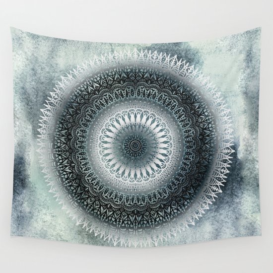 WINTER LEAVES MANDALA Wall Tapestry