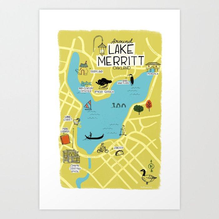 Around Lake Merritt, Oakland Map Art Print