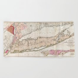 1842 Mather Map of Long Island, New York Beach Towel
